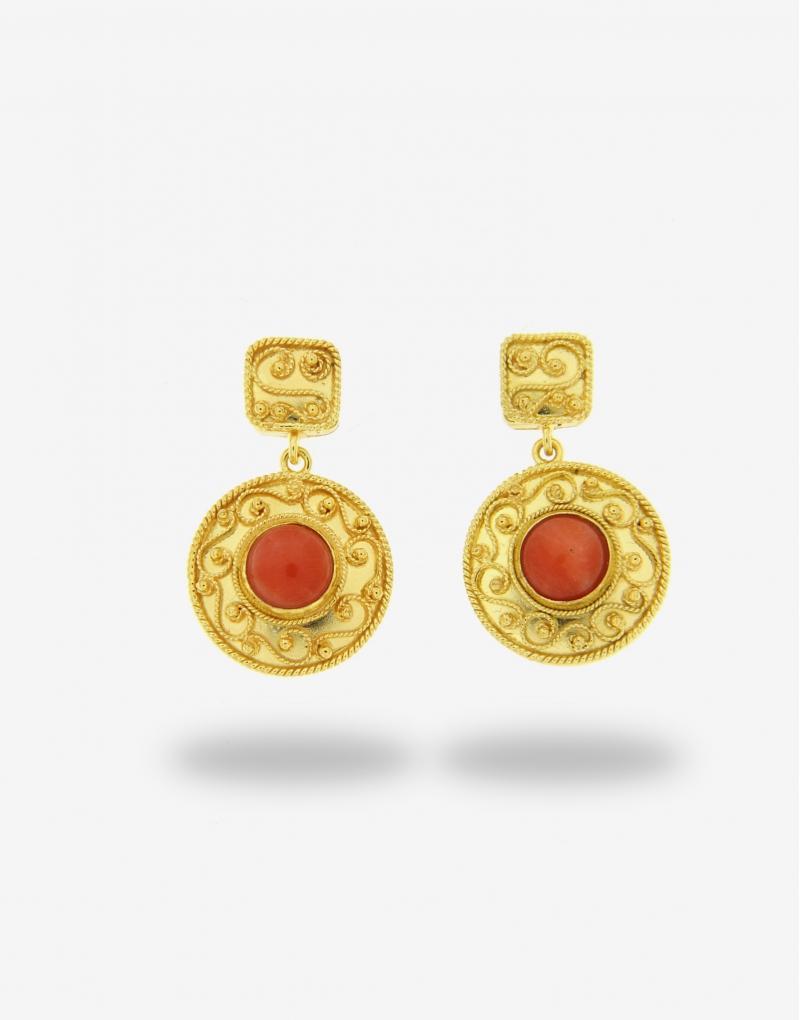 Corallo pendente tondo earrings