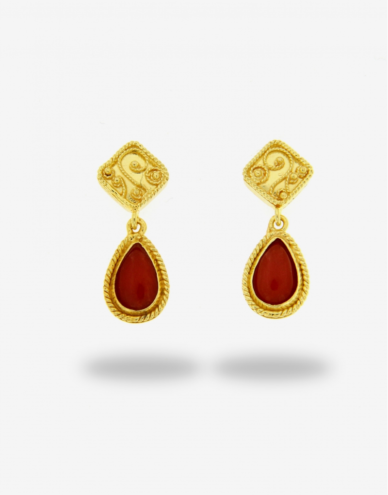 Corallo droplets earrings