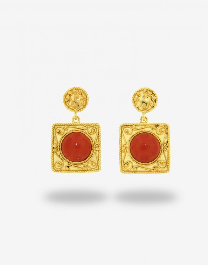 Corallo pendente quadro earrings