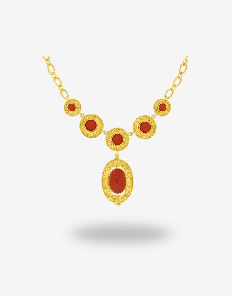Corallo centrale ovale necklace
