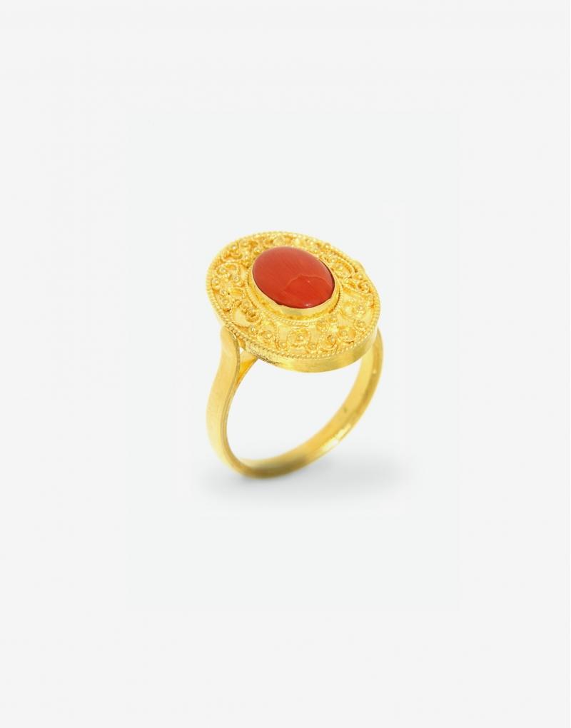 Corallo ovale ring