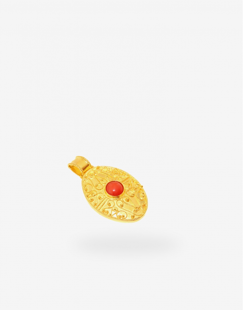 Pendant Gold 18K with Coral
